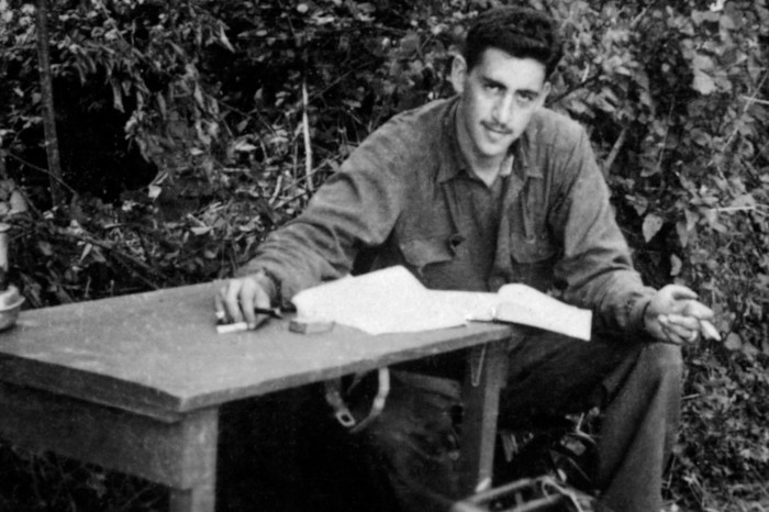 "J.D. Salinger working on ""Catcher in the Rye"" during World  War II."