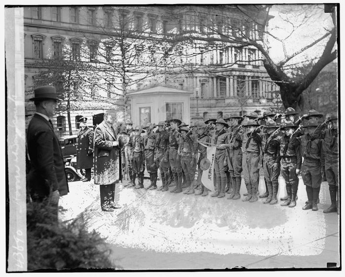 President Hoover addresses Scouts from Troop 166, Kingstown, Pennsylvania. Date Unknown.
